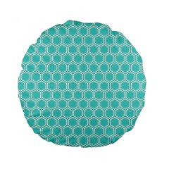 Plaid Circle Blue Wave Standard 15  Premium Flano Round Cushions