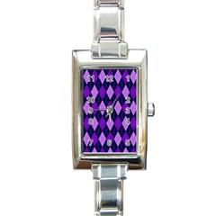 Plaid Triangle Line Wave Chevron Blue Purple Pink Beauty Argyle Rectangle Italian Charm Watch