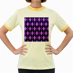 Plaid Triangle Line Wave Chevron Blue Purple Pink Beauty Argyle Women s Fitted Ringer T-Shirts