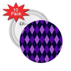 Plaid Triangle Line Wave Chevron Blue Purple Pink Beauty Argyle 2 25  Buttons (10 Pack)