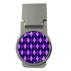 Plaid Triangle Line Wave Chevron Blue Purple Pink Beauty Argyle Money Clips (Round)