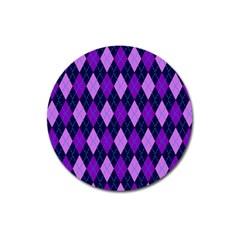 Plaid Triangle Line Wave Chevron Blue Purple Pink Beauty Argyle Magnet 3  (Round)