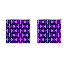 Plaid Triangle Line Wave Chevron Blue Purple Pink Beauty Argyle Cufflinks (Square)