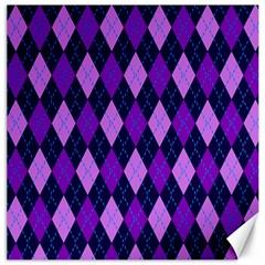 Plaid Triangle Line Wave Chevron Blue Purple Pink Beauty Argyle Canvas 20  x 20