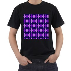 Plaid Triangle Line Wave Chevron Blue Purple Pink Beauty Argyle Men s T-Shirt (Black)