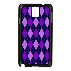 Plaid Triangle Line Wave Chevron Blue Purple Pink Beauty Argyle Samsung Galaxy Note 3 N9005 Case (Black)
