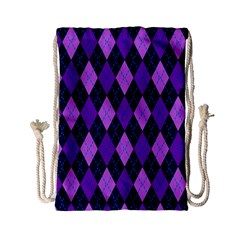 Plaid Triangle Line Wave Chevron Blue Purple Pink Beauty Argyle Drawstring Bag (Small)