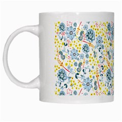 Flower Floral Bird Peacok Sunflower Star Leaf Rose White Mugs