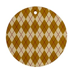 Plaid Triangle Line Wave Chevron Orange Red Grey Beauty Argyle Ornament (Round)