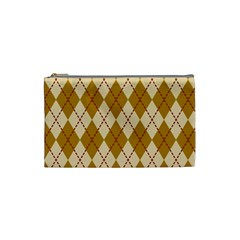 Plaid Triangle Line Wave Chevron Orange Red Grey Beauty Argyle Cosmetic Bag (Small)