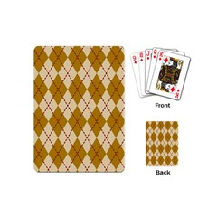 Plaid Triangle Line Wave Chevron Orange Red Grey Beauty Argyle Playing Cards (Mini)