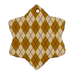 Plaid Triangle Line Wave Chevron Orange Red Grey Beauty Argyle Snowflake Ornament (two Sides)