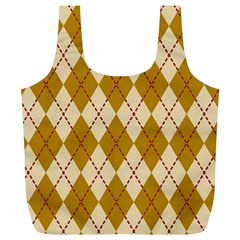 Plaid Triangle Line Wave Chevron Orange Red Grey Beauty Argyle Full Print Recycle Bags (L)