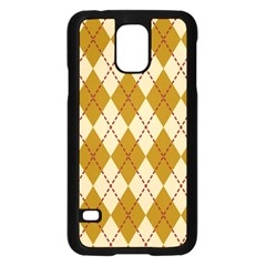Plaid Triangle Line Wave Chevron Orange Red Grey Beauty Argyle Samsung Galaxy S5 Case (Black)