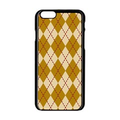 Plaid Triangle Line Wave Chevron Orange Red Grey Beauty Argyle Apple iPhone 6/6S Black Enamel Case