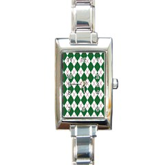 Plaid Triangle Line Wave Chevron Green Red White Beauty Argyle Rectangle Italian Charm Watch