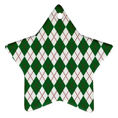 Plaid Triangle Line Wave Chevron Green Red White Beauty Argyle Ornament (Star)