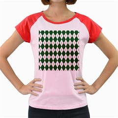 Plaid Triangle Line Wave Chevron Green Red White Beauty Argyle Women s Cap Sleeve T-Shirt
