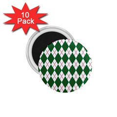 Plaid Triangle Line Wave Chevron Green Red White Beauty Argyle 1.75  Magnets (10 pack)
