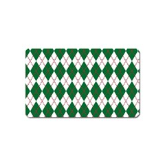 Plaid Triangle Line Wave Chevron Green Red White Beauty Argyle Magnet (name Card)