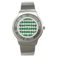 Plaid Triangle Line Wave Chevron Green Red White Beauty Argyle Stainless Steel Watch