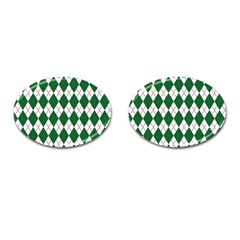 Plaid Triangle Line Wave Chevron Green Red White Beauty Argyle Cufflinks (Oval)