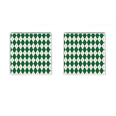Plaid Triangle Line Wave Chevron Green Red White Beauty Argyle Cufflinks (Square)