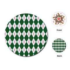 Plaid Triangle Line Wave Chevron Green Red White Beauty Argyle Playing Cards (Round)