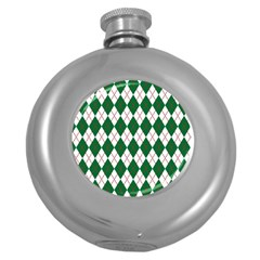 Plaid Triangle Line Wave Chevron Green Red White Beauty Argyle Round Hip Flask (5 oz)
