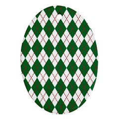 Plaid Triangle Line Wave Chevron Green Red White Beauty Argyle Oval Ornament (Two Sides)