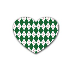 Plaid Triangle Line Wave Chevron Green Red White Beauty Argyle Rubber Coaster (Heart)