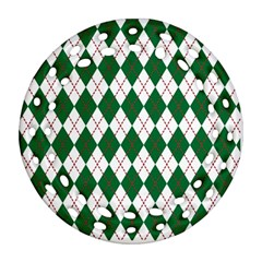 Plaid Triangle Line Wave Chevron Green Red White Beauty Argyle Round Filigree Ornament (Two Sides)