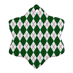 Plaid Triangle Line Wave Chevron Green Red White Beauty Argyle Snowflake Ornament (Two Sides)
