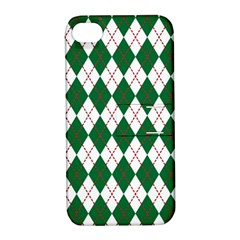Plaid Triangle Line Wave Chevron Green Red White Beauty Argyle Apple iPhone 4/4S Hardshell Case with Stand
