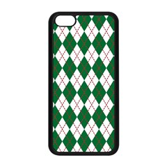 Plaid Triangle Line Wave Chevron Green Red White Beauty Argyle Apple iPhone 5C Seamless Case (Black)