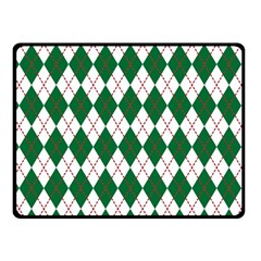Plaid Triangle Line Wave Chevron Green Red White Beauty Argyle Double Sided Fleece Blanket (Small)