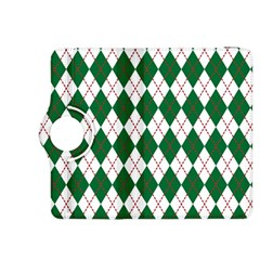 Plaid Triangle Line Wave Chevron Green Red White Beauty Argyle Kindle Fire HDX 8.9  Flip 360 Case