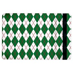 Plaid Triangle Line Wave Chevron Green Red White Beauty Argyle iPad Air Flip