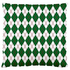 Plaid Triangle Line Wave Chevron Green Red White Beauty Argyle Large Flano Cushion Case (One Side)