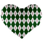 Plaid Triangle Line Wave Chevron Green Red White Beauty Argyle Large 19  Premium Flano Heart Shape Cushions Front