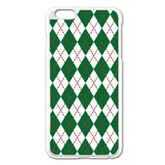 Plaid Triangle Line Wave Chevron Green Red White Beauty Argyle Apple iPhone 6 Plus/6S Plus Enamel White Case