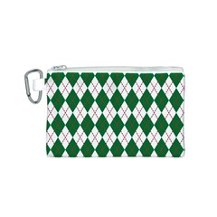 Plaid Triangle Line Wave Chevron Green Red White Beauty Argyle Canvas Cosmetic Bag (S)