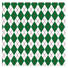 Plaid Triangle Line Wave Chevron Green Red White Beauty Argyle Large Satin Scarf (Square)