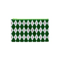 Plaid Triangle Line Wave Chevron Green Red White Beauty Argyle Cosmetic Bag (XS)