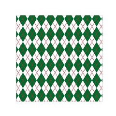 Plaid Triangle Line Wave Chevron Green Red White Beauty Argyle Small Satin Scarf (Square)