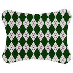 Plaid Triangle Line Wave Chevron Green Red White Beauty Argyle Jigsaw Puzzle Photo Stand (Bow)