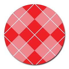 Plaid Triangle Line Wave Chevron Red White Beauty Argyle Round Mousepads