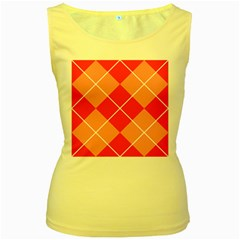 Plaid Triangle Line Wave Chevron Red White Beauty Argyle Women s Yellow Tank Top