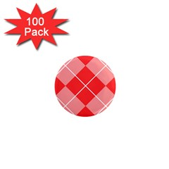 Plaid Triangle Line Wave Chevron Red White Beauty Argyle 1  Mini Magnets (100 Pack)