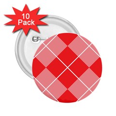 Plaid Triangle Line Wave Chevron Red White Beauty Argyle 2.25  Buttons (10 pack)